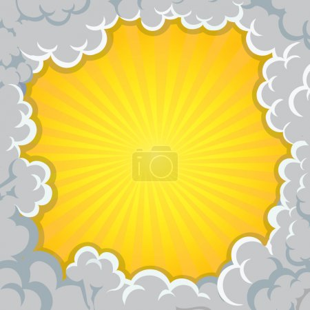 Cloud explosion yellow background Pop-Art Style, comic book