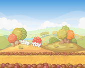 Cute cartoon seamless landscape , autumn day