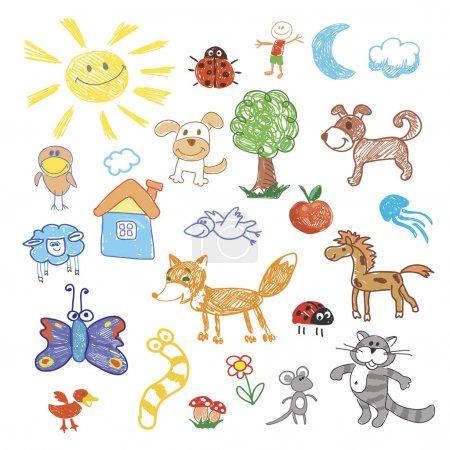 Childrens drawing doodle animals trees, sheep, dog and fox, cat and snake