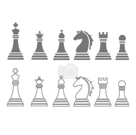 Photo pour Pièces d'échecs, y compris roi, reine, tour, pion, chevalier et évêque icônes, ensemble - image libre de droit