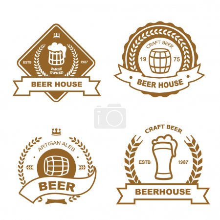 Set of monochrome badge, logo and design elements for beer house, bar, pub, brewery, tavern, restaurant