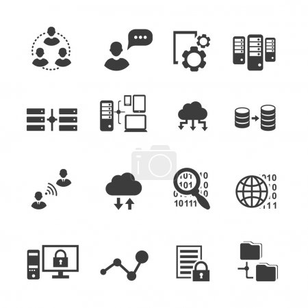 Big data icon set,  analytics, cloud computing. digital  processing