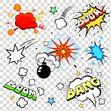 Comic speech bubbles in pop art style with bomb cartoon explosion