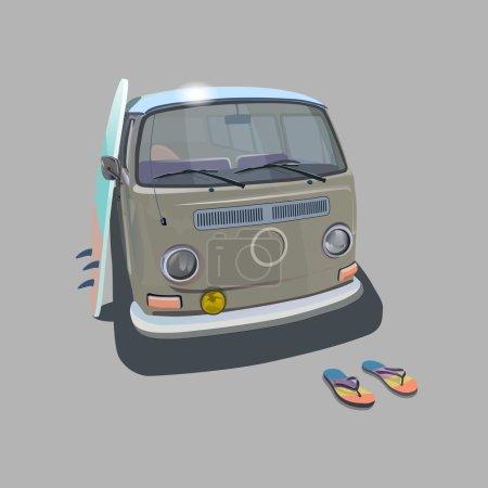 Surfer van beach poster for t-shirt graphics. Transportation and surfing, kitesurf sport board, illustration