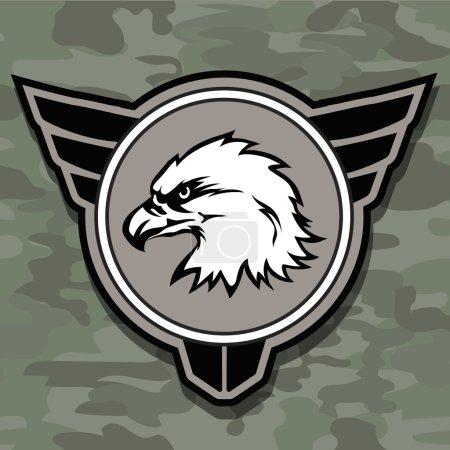 Photo pour Symbole de mascotte modèle Eagle tête logo emblème pour la conception de l'entreprise ou de la chemise. élément de conception militaire - image libre de droit