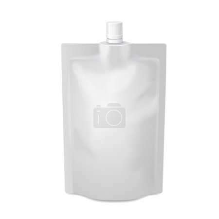 White blank doy-pack foil food or drink bag packaging with spout lid. Plastic pack template