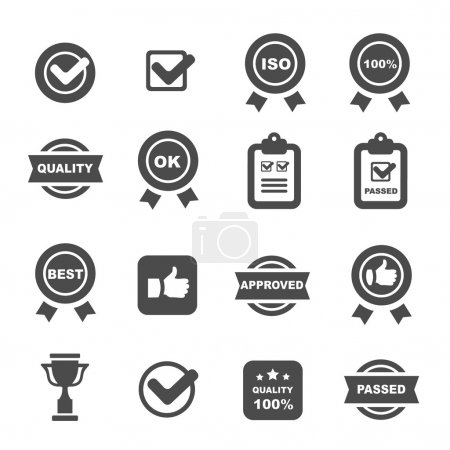 quality control icons set,  vector symbols