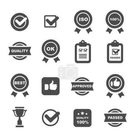 Illustration for Quality control icons black set, mono vector symbols - Royalty Free Image