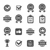 Quality control icons black set mono vector symbols