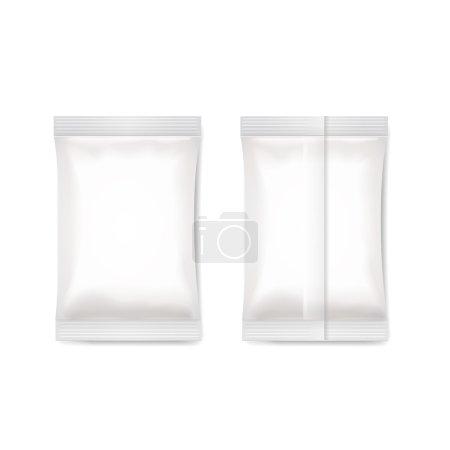 Illustration pour Sachet d'emballage en papier blanc sucre, café, sel. emballage vecteur - image libre de droit