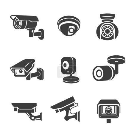 Illustration pour Caméras de sécurité de vidéosurveillance pictogrammes icônes graphiques ensemble vecteur - image libre de droit