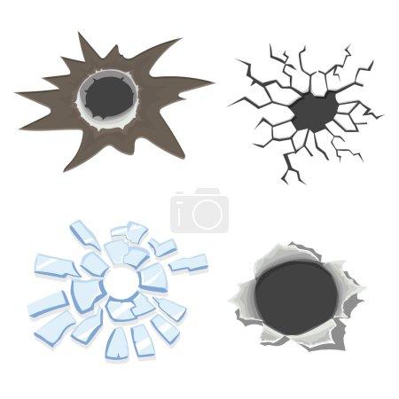 Illustration for Cracks set, broken glass or wall, cracked ground or  Bullet holes. Vector - Royalty Free Image