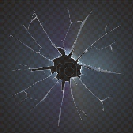 Illustration pour Verre cassé réaliste vitre dépoli cassé sur fond noir illustration vectorielle de destruction - image libre de droit