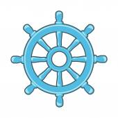 Rudder icon or Ship Wheel isolated on white