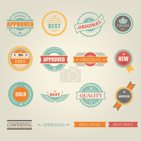 Set of vector colored emblems and stamps  depicting  approved  free  original  inspected fresh new sold  best price  in round  rectangular banner form