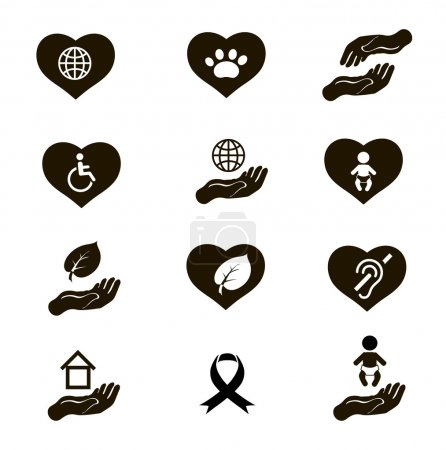 Charity donation social services and volunteer black icons pictogram set isolated vector illustration