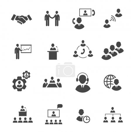 Business people online meeting strategic pictograms set of presentation online conference  teamwork isolated vector illustration