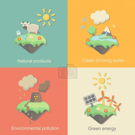 Ecology Concept Vector Icons Set for Environment, Green Energy and Nature Pollution Designs. Nuclear Power Plant  Deforestation. Flat Style.