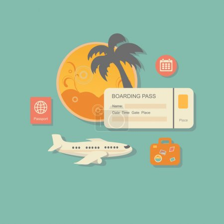 Illustration for Style modern vector illustration concept of planning a summer vacation, online booking a ticket on a trip, flying a plane to travel destination. Isolated on stylish background. Flat - Royalty Free Image