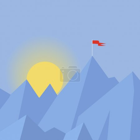 Flat design modern vector  illustration success  concept with  flag on the mountain peak, meaning overcoming difficulties,