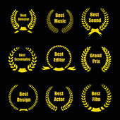 Vector Film Awards gold award  wreaths on black background