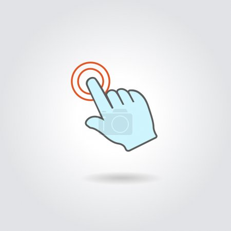Hand with touching a button or pointing finger