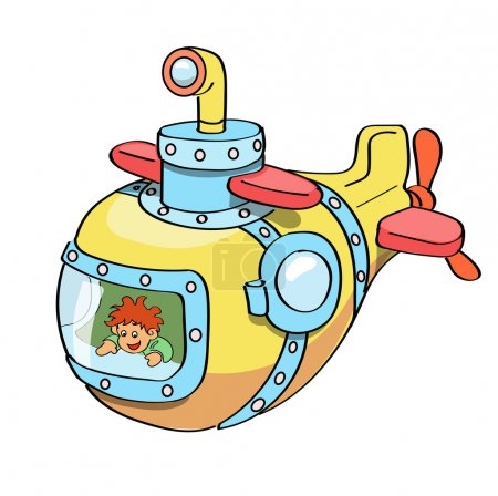 Submarine cartoon colored