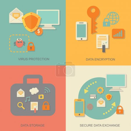 Business data protection technology and cloud network security concept infographic design elements vector