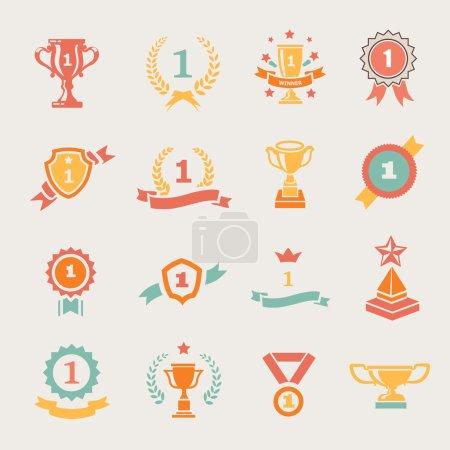 Illustration pour Badges First Place et rubans gagnants illustration de couleur vectorielle - image libre de droit