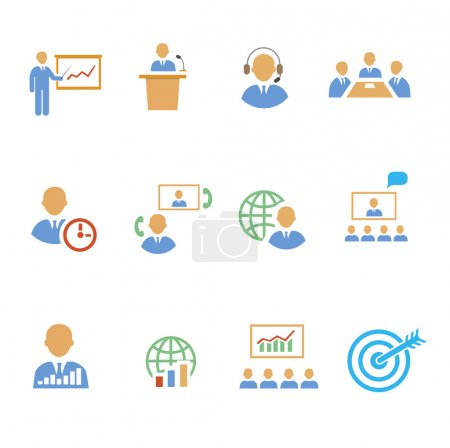 Set of colorful business people vector strategic   icons showing  training  target  presentation  global  online  meetings  discussion  teamwork  analysis