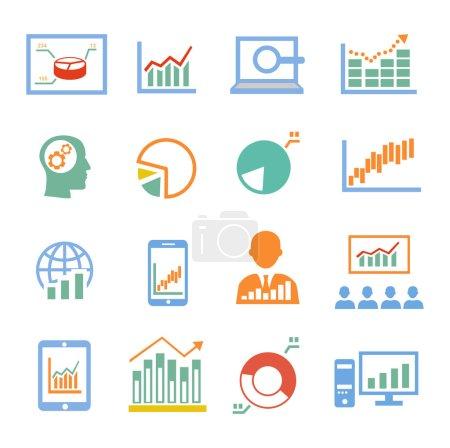 Market analysis, diagrams icons