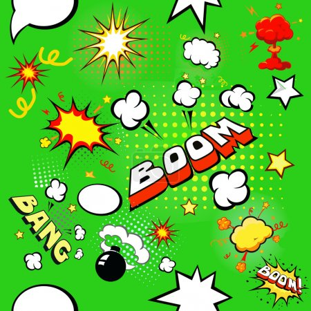 Illustration for Seamless pattern background with  comic book speech bubbles vector illustration - Royalty Free Image