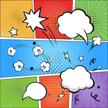 Illustration for Comic strip  and comic speech   bubbles on colorful halftone background vector illustration - Royalty Free Image