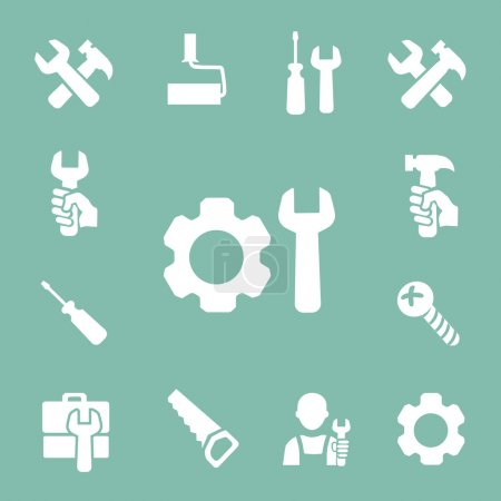 Illustration for Working tools isolated icons set of hammer  wrench screwdriver and measuring tape vector - Royalty Free Image