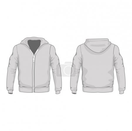 Mens hoodie shirts template. Front and back views. Vector illustration.