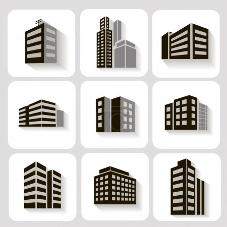 Set of dimensional buildings icons in grey and white with shadow depicting high-rise commercial   office blocks