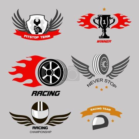 Car racing badges and motorcycle service, Championship logos