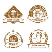 Set of vintage monochrome badge logo  and design elements for beer house bar pub brewing company brewery tavern restaurant - mug glass barrel wheat icons