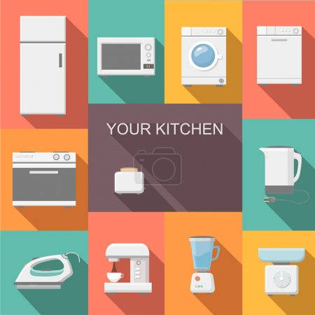 Set of kitchen appliances flat  vector icons