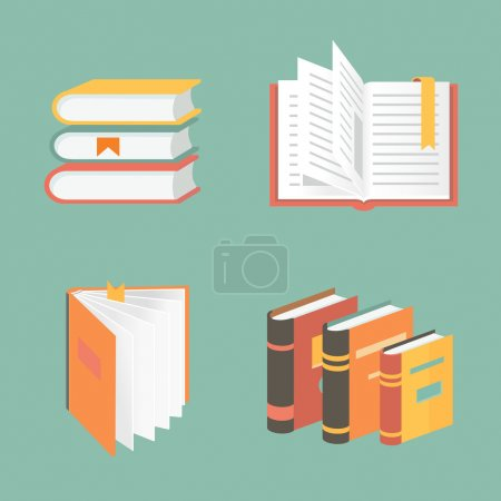 Illustration for Vector book icons and symbols -  education concepts - Royalty Free Image
