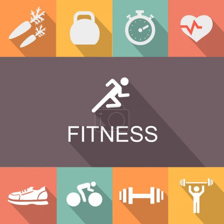 Fitness background in flat style.