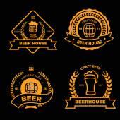 Set of vintage gold badge logo and design elements for beer house bar pub