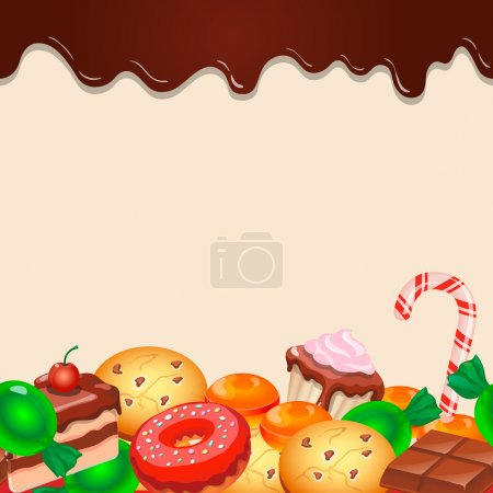 Seamless pattern colorful candy sweets and chocola...