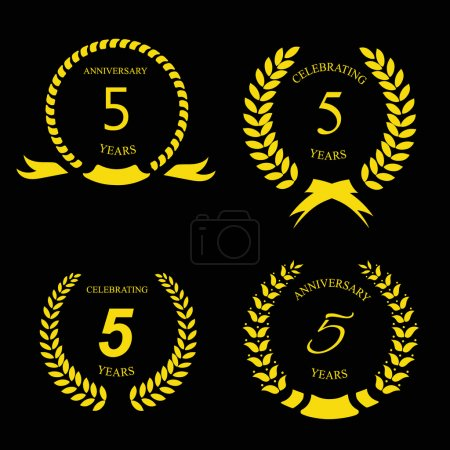 5 years anniversary golden label with ribbon, vector illustration