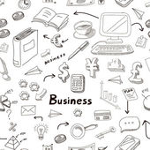 Vector business doodles seamless pattern background with diagrams humans and ideas bulbs