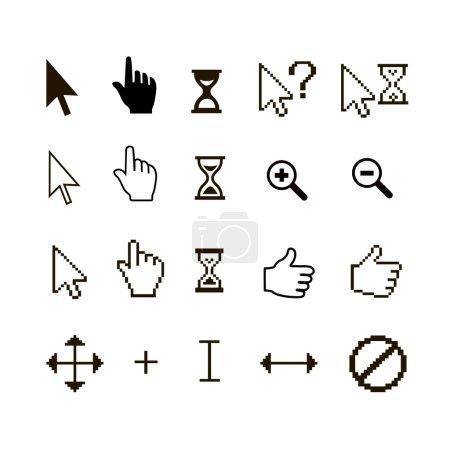 Illustration pour Jeu vectoriel de différents curseurs de souris : doigt pouce levé et loupe - image libre de droit