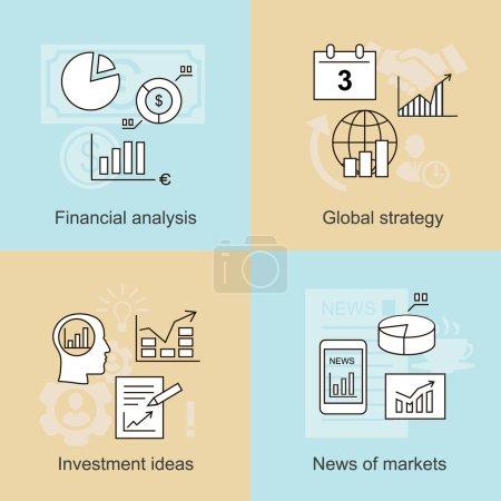Des concepts commerciaux. Nouvelles des marchés, idées d'investissement et analyse financière. Illustration vectorielle