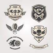 Grand prix racing  motorclub  emblems set isolated vector illustration