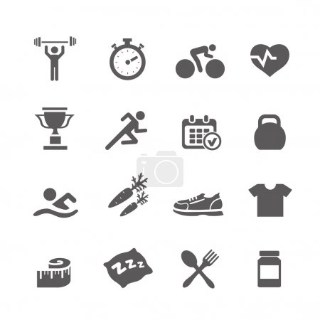 Health and Fitness icons vector set icons with a stopwatch bodybuilder weights dumbbells heart  pulse trainer shoes bottled water
