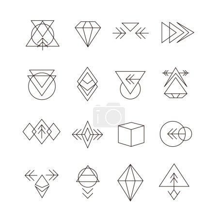 Illustration pour Ensemble géométrique abstrait avec icônes de style Hipster pour la conception de logo. Signes Rétro Ligne pour Logotypes - image libre de droit